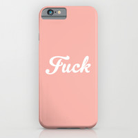 Vintage Peach Rose Pastel Fuck Typography iPhone & iPod Case by RexLambo
