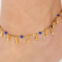 Gold Ankle Bracelet Royal Blue Gemstones Boho Anklet Bohemian Jewelry Hipster Beach Summer Accessories Bocade Jewelry Sodalite Indian Jewel