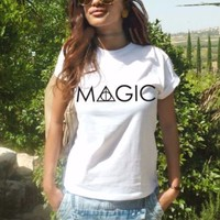 MAGIC Harry potter Clothing t shirt deathly hallows tee Hogwarts wand party top