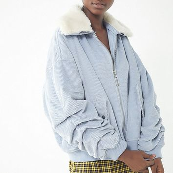 Avec Les Filles Sherpa Trim Bomber Jacket | Urban Outfitters