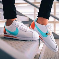 Onewel Nike Classic Cortez Forrest Sports Shoes Classic Shoes Leisure Sneakers White lake blue hook orange tail