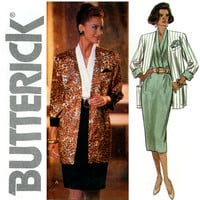 1990s Evening Dress and Jacket Uncut Bust 34 36 38 Butterick 6513 Surplice Draped Neckline Sheath Dress Womens Vintage Sewing Patterns
