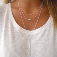 Layered Set of 3 Necklaces ; Sterling Silver necklace set ; Pick Your Choice of Pendant and Beads ;