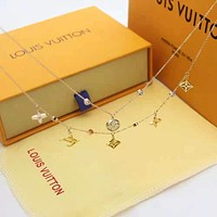 LV Woman Fashion Logo Plated Necklace Bracelet Set Two-Piece