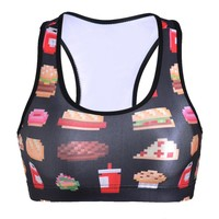 Print Cartoons Vest Sports Bra [6533681479]