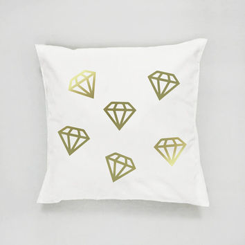Gold Diamonds Pattern Pillow, Diamonds Pillow, Home Decor, Cushion Cover, Throw Pillow, Bedroom Decor,Modern Pillow, Bed Pillow, Gold Pillow