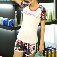 """""""Adidas Neo"""" Women Casual Letter Multicolor Floral Print Short Sleeve Shorts Set Two-Piece Sportswear"""