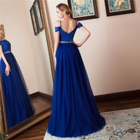 Off the Shoulder Long Prom Dresses Appliques Beaded Tulle Evening Party Dress