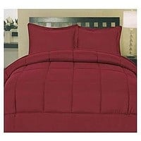 ComfortLiving Down Alternative 5 Piece Embossed Comforter Set - Burgundy (King)