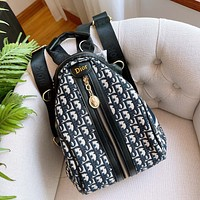Dior CD hot sale fashion lady schoolbag classic stitching letters full printed zipper backpack