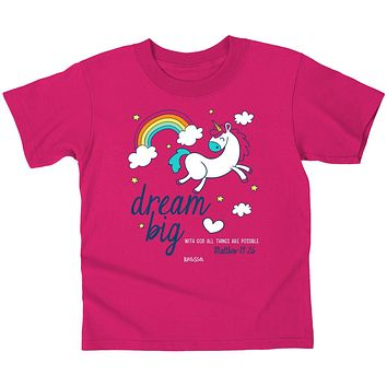 Cherished Girl Dream Big Unicorn Christian Toddler Youth T-Shirt
