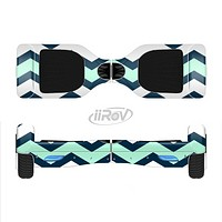 The Teal & Blue Wide Chevron Pattern Full-Body Skin Set for the Smart Drifting SuperCharged iiRov HoverBoard