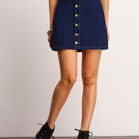 Blue Front Single-breasted Denim Skirt -SheIn(Sheinside)