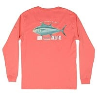 Long Sleeve Tuna Tee in Coral by Southern Marsh