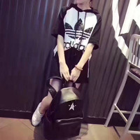 """Adidas"" Fashion Casual Multicolor Stitching Sequin Clover Letter Print Short Sleeve Hooded Set Two-Piece Sportswear"