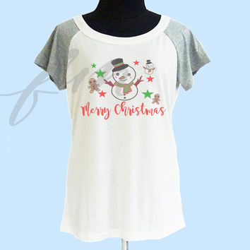 Snowman shirt thin soft tops**off white grey**wide neck sweatshirt, crew neck tshirt size S M L  **quote tshirt