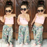 US Toddler Baby Girls Summer Clothes Vest Crop Tops Floral Long Pants Outfit Set