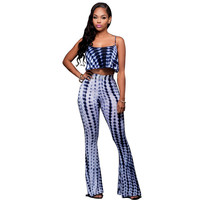 Rompers Womens Jumpsuit 2017 Autumn Sexy Tie Dye 2 Two Pieces Pant Set Sleeveless Backless Bodycon Bandage Bell Bottoms Jumpsuit