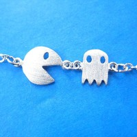 Namco PacMan & Ghost Arcade Game Themed Charm Bracelet in Silver   DOTOLY