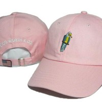 Pink Parrot Embroidered Baseball Cap Hat