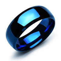 Titanium steel couple rings Personal simple plating smooth stainless steel ring Student style -one for men only-Size 8