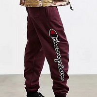 Champion new side of the English printing youth men and women plus velvet beam trousers Burgundy