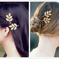 Minimalist Dainty 2Pc Gold LEAF Leaves Branch Golden Metal Grecian Hairpin Hair Clips Accessories Bobby Pin Woodland Garden Wedding Fairy Bridesmaids Brides Jewelry = 1930219396