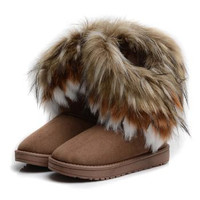 Brown Designer Brand Shoes Woman Platform sweet Boots For Women Womens Girls Shoes Winter Ankle Boots High Knee Snow Boots DHXZ1044
