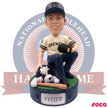 Christian Yelich and Cooper Milwaukee Brewers Bobblehead