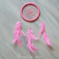 Baby Pink Dream Catcher with Love Stone - Rose Quartz, Candy Pink Girly Dream Catcher, Beaded Dreamcatcher