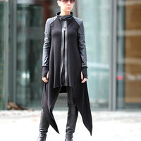 NEW  Black Asymmetrical Top / Long Sleeves Tunic / Sexy Tunic / Extravagant Top / Black Blouse / Dress / Jacket T23118