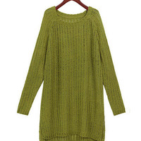 Light Green Long Sleeve Tunic Knitted Sweater
