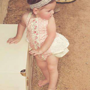 Custom Vintage Rose Lace Ruffled bottom Romper Bloomer Infants and Toddler Girls 0-3 mos to 24 mos, 2t