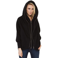 Black Hooded Sweater with Zipper