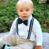 Little Boy Light Blue and Navy Suspender and Bowtie