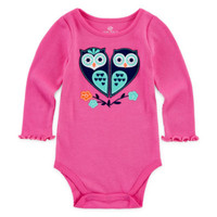 Okie Dokie® Girl Long Sleeve Rib Tee with Applique - JCPenney