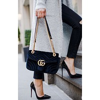 Gucci Classic Popular Women Shopping Leather GG Buckle Crossbody Satchel Shoulde Bag Black I/A