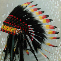 Goose Feathers Headdress, Chief Indian Hat, Warbonnet, Native American Headdress, Native American Costume, Festival Clothing, Bohemian Hat