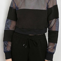 Mesh Insert Baseball Crop Sweatshirt in Black