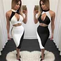 new summer women sexy evening party club deep v dresses white black patchwork bodycon casual womens clothing dress XD534