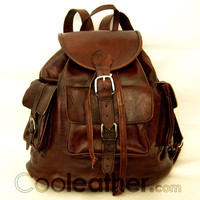 """MyMate3 Backpack -  Large All Leather Backpack 14"""" laptop Leather Rucksack"""