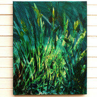 Original Modern Abstract Art Landscape Painting Dark Green Blue Acrylic on Stretched Canvas Frame 24x18