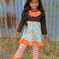 Girls Orange Fall Floral Stripe Ruffle Outfit Infant Toddler Girl