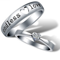 2pcs-925 heart-shaped silvers promise rings plate with the purple platinum.couple rings,wedding bands,lovers rings,platinum promise rings