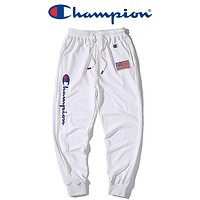 Champion Fashion New Letter Print Women Men Sports Leisure Pants White