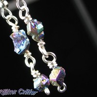 Colorful Pebble Layered Earrings, Rainbow Coated Rough Crystal Beads