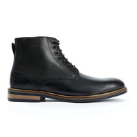 Black Leather Plain Toe Boots - Men's Boots - Shoes and Accessories