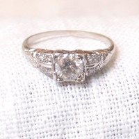 Art Deco 18k Gold and Diamond Engagement Ring .70 Carat
