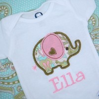 Baby Girl Clothes - Baby Girl Outfit - Personalized Baby Girl Shirt - Elephant Bodysuit