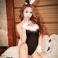 Sexy Lingerie Babydoll Teddy Lady Rabbit Bunny Costume Pink Black